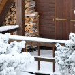 Wooden cabin in the snow - Foto Stock