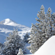 Snowy mountain scene — Stock Photo