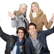 Group of young greeting — Stock Photo