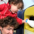 Stockfoto: Father and son recycling