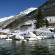 Стоковое фото: Pond at the top of snow covered mountain