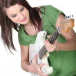 Young woman playing guitar — Stok fotoğraf