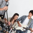 Stock Photo: Singer in band