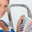 Foto Stock: Decorator with color swatch
