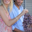 Portrait of a couple with grapes — Stock Photo #11848035