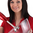Woman with beater — Stockfoto