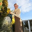A blonde woman watering plants in her garden - Stock Photo