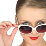 Woman wearing oversized sunglasses — Stock Photo #11848300
