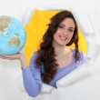 Woman holding globe — Stock Photo