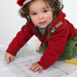 Little boy dressed as foreman — Stock Photo
