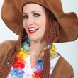 Woman in Hippy Fancy Dress Costume — Stock Photo