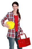 Portrait of a tradeswoman arriving at work — Stock Photo