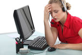 Stressed call-center operative — Stock Photo