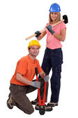 Craftswoman and craftsman together — Stock Photo