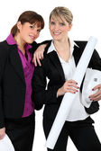 Female architect duo — Stock Photo