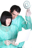Medical staff with computer — Stock Photo