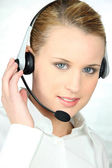Blond call-center worker — Stock Photo