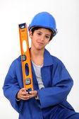 Chłopiec z poziomnicy — Zdjęcie stockowe