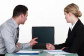 Man and woman having meeting — Stock Photo