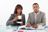 Businessman and businesswoman examining a project and drinking coffee — Stock Photo