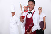 Coloured sommelier and co — Stock Photo