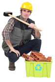 Man with recyclable rubbish — Stock Photo