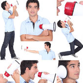 Mosaic of young man with megaphone — Stock Photo