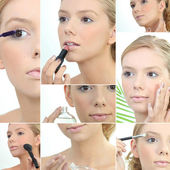 Montage of a young woman applying makeup — Stock Photo
