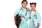 Children disguised as doctors — Stock Photo
