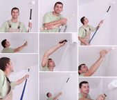Montage of a man painting a room — Stock Photo