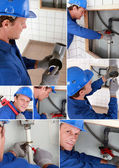 Plumber installing a water system — Stock Photo
