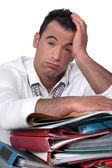 Overwhelmed worker — Stock Photo