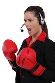 Llame a empleado de centro con guantes de boxeo — Foto de Stock