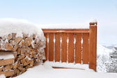 Snow covered fence — Stock Photo