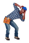 A traumatized tradesman — Stock Photo