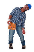 Tradesman suffering from a work-related injury — Stock Photo
