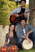 Musical trio in nature — Stock Photo