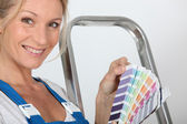 Decorator with a color swatch — Stock Photo