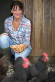Woman gathering eggs — Stock Photo