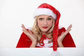 Mrs. Claus doesn't know what to do... — Stock Photo