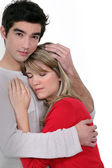 A man comforting his girlfriend. — Stock Photo