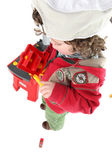 Child pretending to be a tradesperson — Stock Photo