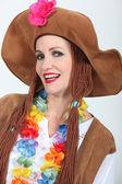 Woman in Hippy Fancy Dress Costume — Stock Photo