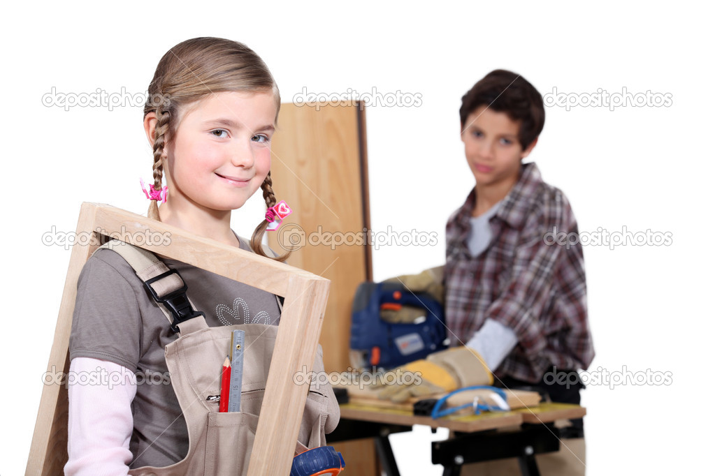 Kids in a craftsman workshop — Stock Photo #11846630