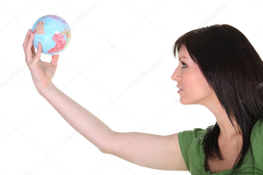 Woman in green reaching out to the world — Stock Photo #11846687