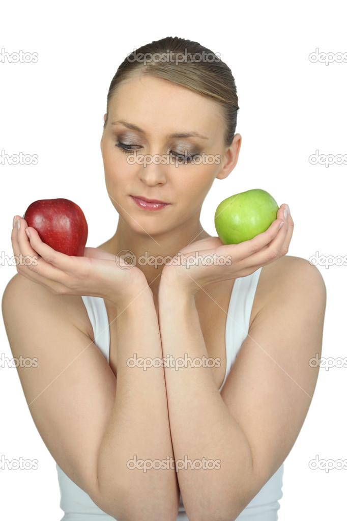 Woman holding two apples — Stock Photo #11846821