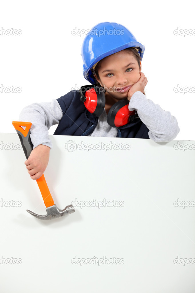 Little girl dressed in construction worker — Stock Photo #11847138