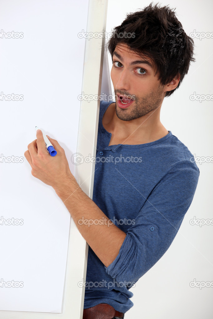 Man stood by flip chart  Stock Photo #11847242