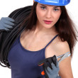 Female electrician - Stock Photo