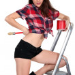 Sexy womon ladder painting — Stock Photo #11854024